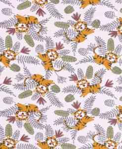 Tissu jersey de coton le tigre de la jungle blanc 2