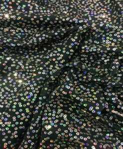 Tissu jersey paillette cousu noir et argent hologramme