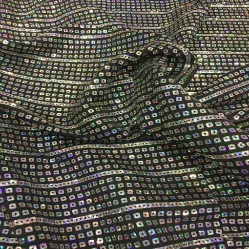 Tissu jersey paillette cousu noir hologramme