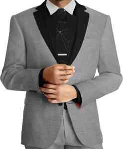 Panno scuro abito di lana grigia Woolmark