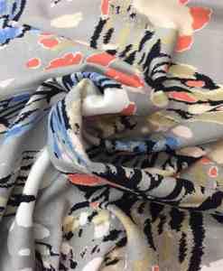 Tissu lin viscose imprimé papillon gris clair