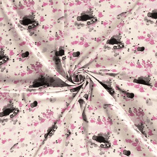 Tissu lin viscose tache aquarelle rose