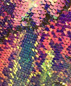 Tissu paillette fuchsia et rose caméléon