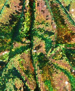 Tissu paillette or et vert caméléon