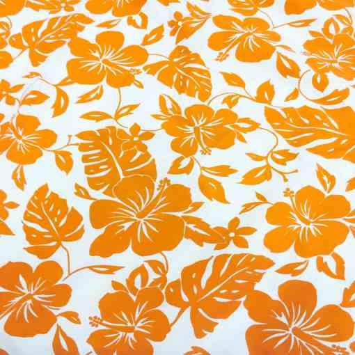 Tissu popeline de coton hawaï orange