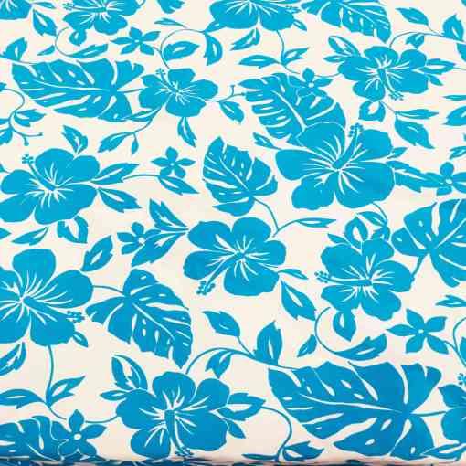 Tissu popeline de coton hawaï turquoise