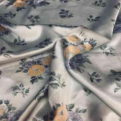 Tissu viscose motif satiné fleurs