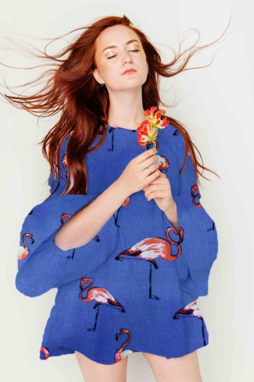 Tissu voile viscose flamant rose bleu robe