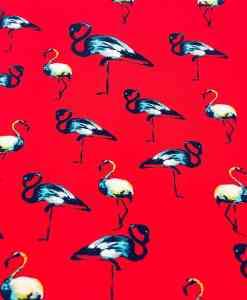 Ткань парусной вискоза красный фламинго
