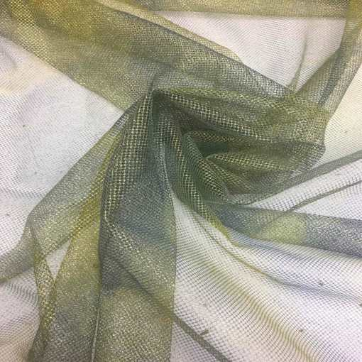 Tulle lamé tie and dye vert et or