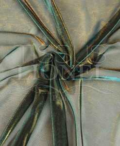 voile lurex changeante turquoise et or