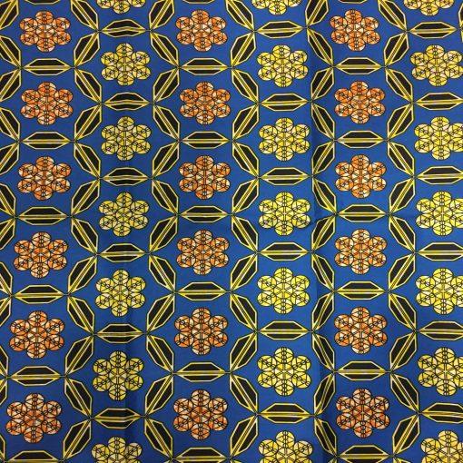 Wax- Tissus africain trefle bleu