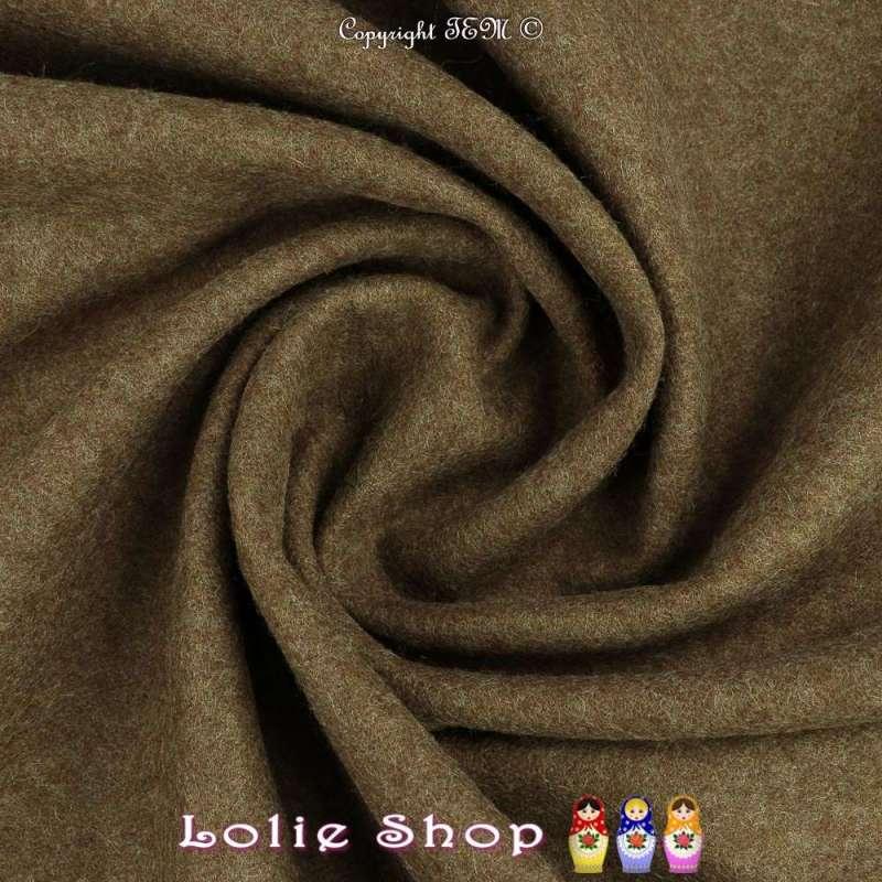 tissu pure laine caban double face vendu au metre pas chere couleur kaki