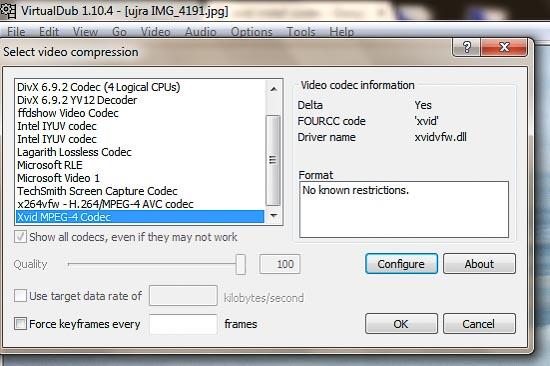 VirtualDub kodek kiválasztás