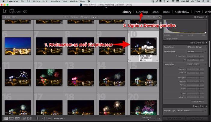 Lightroom Library panelből Developba