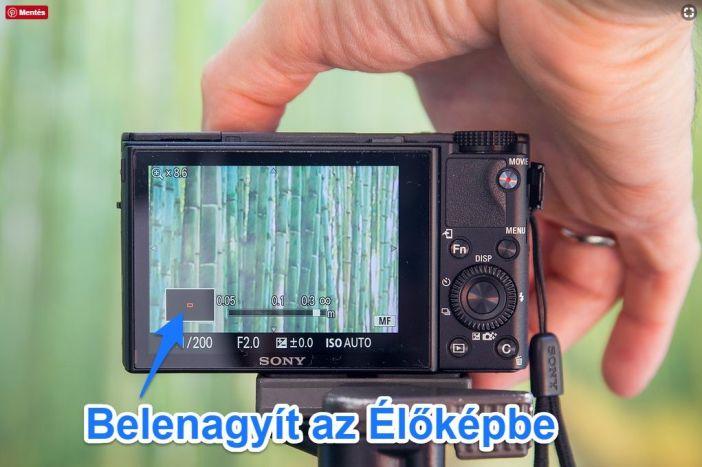 Sony RX100 manuális fókuszálás élőkép