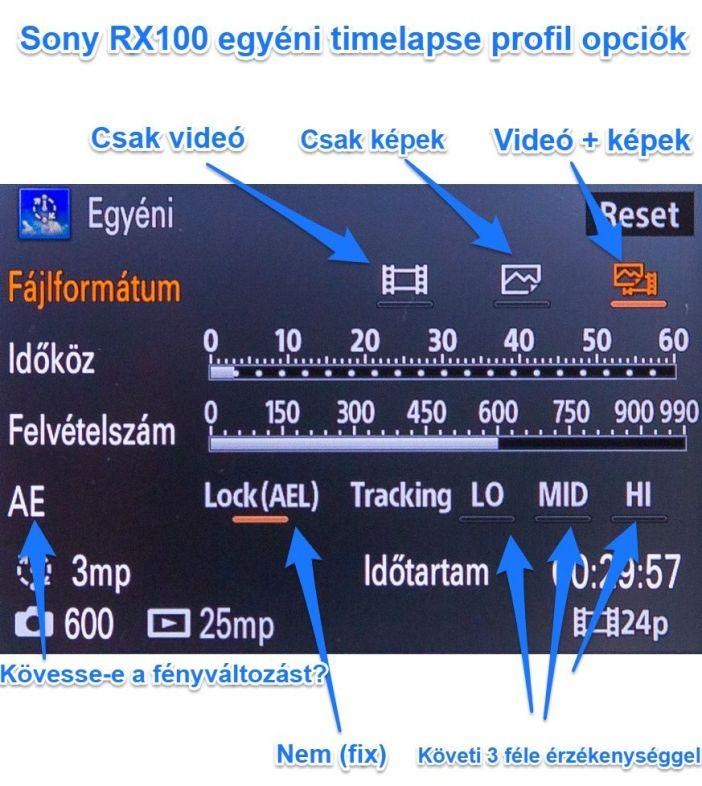 Sony RX100 timelapse app beállítás