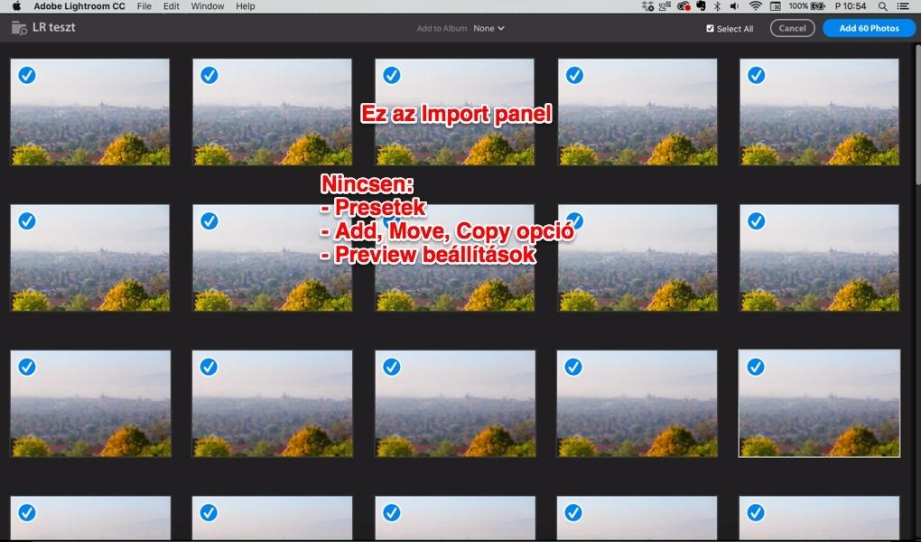 Lightroom CC importálás képernyő