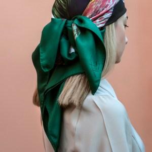 Window 90 silk scarf multicolor-geometrical pattern collection