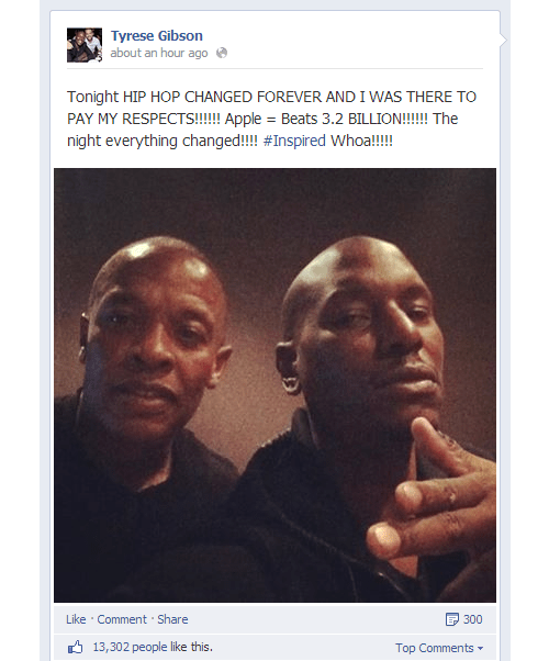 Apple to buy Beats. Tyrese Gibson confirms deal along with Dr. Dre