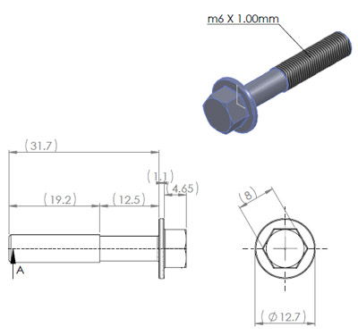 M6 x 32mm hex flange bolt