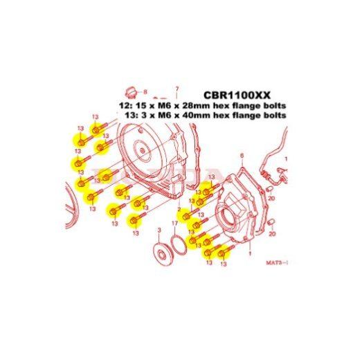 CBR1100XX TITANIUM clutch cover kit
