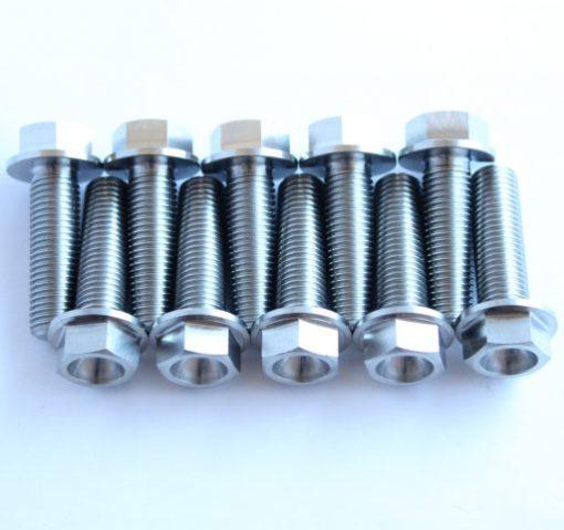 M10 x 33mm TITANIUM hex flange bolt