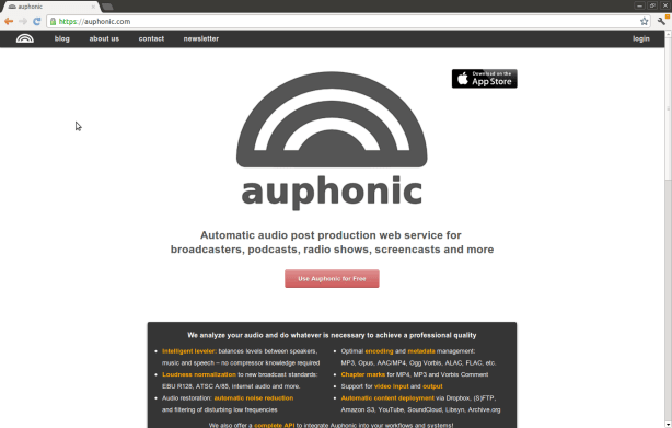 Auphonic Home page