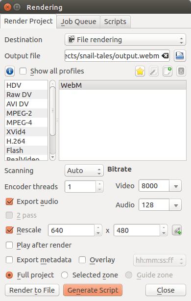 KdenLive - Generate render Script