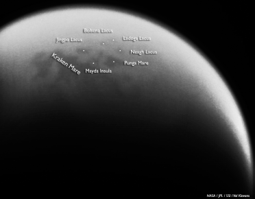 Titan's northern lakes and seas on May 18, 2014