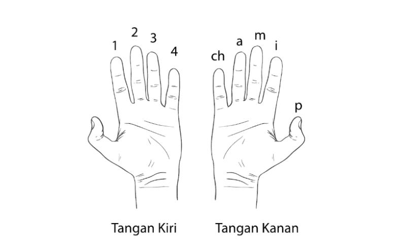 Penamaan jari-jari tangan pada saat belajar bermain gitar