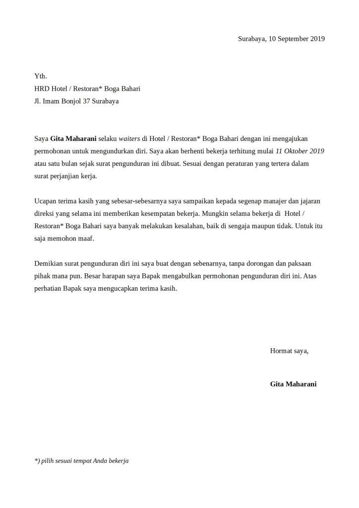 Contoh surat pengunduran diri karyawan hotel atau restoran