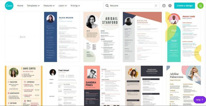 Membuat resume profesional di canva.com