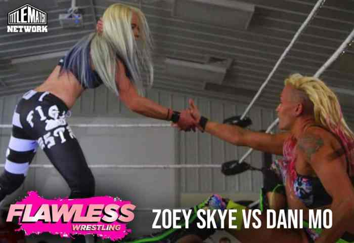 Zoey Skye vs Dani Mo 1200x675 Graphic Title Match Network - Flawless Women's Wrestling NEW