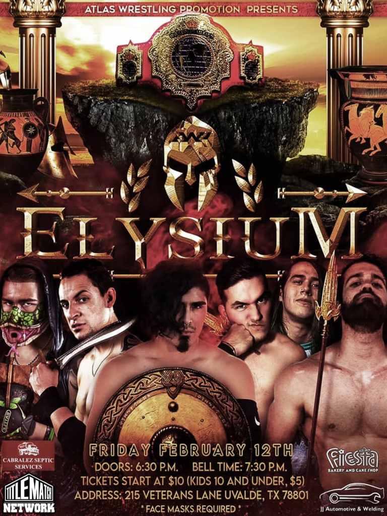 Atlas Wrestling Promotion - Elysium 2.12.21 Poster 18x24 Title Match Network