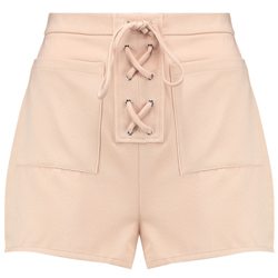 BLUE-INC-WOMAN-CREAM-LACE-UP-FRONT-HIGH-WAISTED-TIE-UP-SHORTS-£14