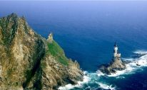 Aniva Rock Lighthouse - Sakhalinskaya Oblast, Russia. A formal penal island used by the Russians, Aniva was once sought after by both the Russia and Japan. This now Russian controlled territory sits uninhabited in the seas between Japan and the eastern coast of Russia.