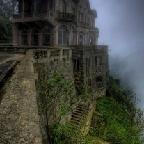 El Hotel del Salto - Colombia. Hotel del Salto was built in 1928 for wealthy tourists visiting the nearby Tequendama Falls. Eventually, the waterfall was contaminated and visitors lost interest, leading to the hotel's abandonment.