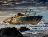 Wreck of the SS America - Fuerteventura, Canary Islands. This former United States ocean liner was wrecked in 1994 after 54 years of service.