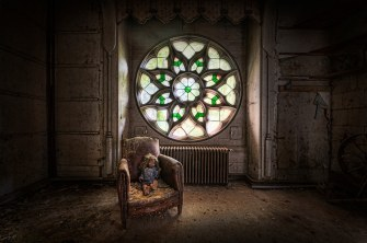 """A stained glass window at """"Chateau Clochard"""", 15th century castle located in a small French village. Sadly a fire ravaged the remains of the castle in 2012.Photo By Niki Feijen"""