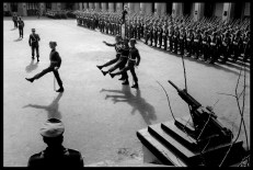 CHILE. Santiago. The army celebrates the 10th anniversary of General Augusto PINOCHET's Coup d'Etat with a parade inside a barrack. 1983.