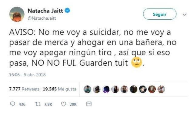 El tuit de Natacha Jaitt.