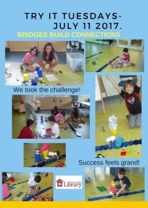 Flyer for Bridges Build Connections picturing several photos of children building miniature bridges