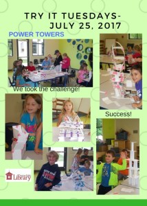 A flyer with several photos of children creating towers out of paper and tape