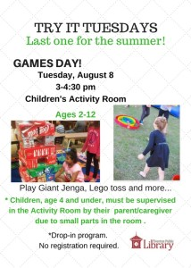 Flyer of Games Day with photos of children playing Giant Jenga and Lego toss