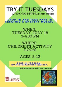 Flyer advertising Creating A Mystery Mosaic in the Children's Activity room