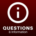 """a digital image of an i in a circle captioned """"questions & information"""""""