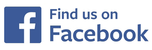 "Facebook logo captioned ""find us on facebook"""