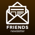 "Digital drawing of an open envelope captioned ""friends newsletter"""