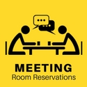 """A drawing of of two plain people sitting at a table taking and drinking coffee captioned """"Meeting Room Reservations"""""""